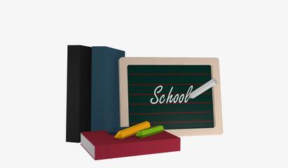 Schiefertafel mit dem Text Schule, Büchern und bunter Kreide