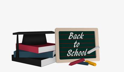 Schiefertafel mit dem Text Back to School und einem Bücherstapel auf dem ein Highshool-Hut liegt.