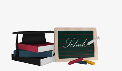 Schiefertafel mit dem Text Schule in deutsch und einem Bücherstapel auf dem ein Highshool-Hut liegt.