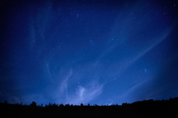 Blue dark night sky with stars.