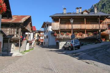 Typical street in Rocca Pietore, Veneto, Italy.