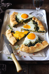 Appetizer: spinach pie galette with eggs and red wine