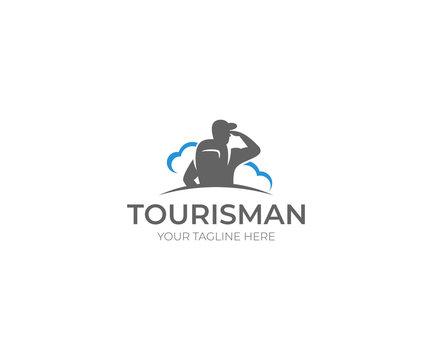 Tourism Logo Template. Traveling Vector Design. Tourist Illustration
