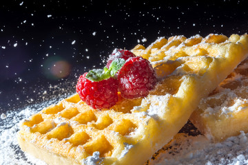 Sweet toast waffles with raspberries and a sprig of mint leaves on top and sifting pouring sugar powder in the sunlight close-up macro on a black background