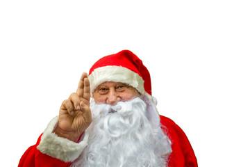 Santa Claus crossing fingers