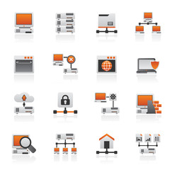 Server and network icons - vector icon set