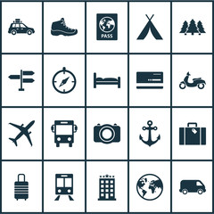Exploration icons set with planet, booth, scooter and other guide