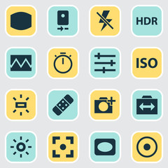 Image icons set with plaster, setting, photography and other lightning
