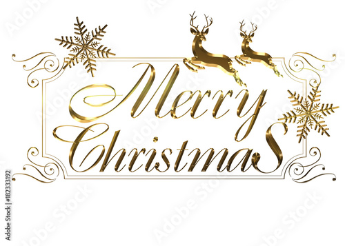Merry Christmas In Cursive.Merry Christmas Logo Of Gold Metallic Relief Like Cursive