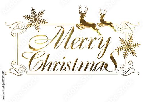 Merry Christmas Writing Clipart.Merry Christmas Logo Of Gold Metallic Relief Like Cursive