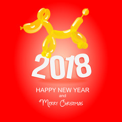Dog is a balloon. New Year and Christmas card. The dog and its profile. Yellow background. Festive flyer. Vector image of a dog.  Flyer or banner with an animalistic theme. 2018