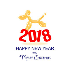 2018. Dog is a balloon. New Year and Christmas card. The dog and its profile. Festive flyer. Vector image of a dog.  Flyer or banner with an animalistic theme