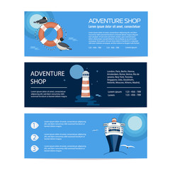 A banner or flyer template selling a journey or a marine  trip. An advertising leaflet offering a sea tour or a trip to the coast. Sale of sea or river cruise. Vivid picture, vector image