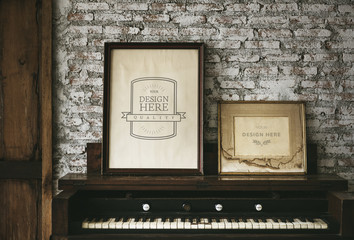 Design space photo frames by the piano