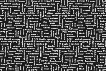 Capitals of Europe. Seamless background. Vector print.