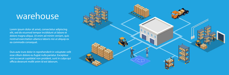 Isometric 3D vector illustration warehouse with a forklift, goods and people.