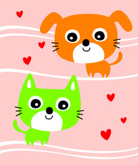 cute cat and puppy valentine greeting card vector