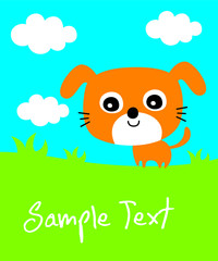cute puppy dog cartoon vector