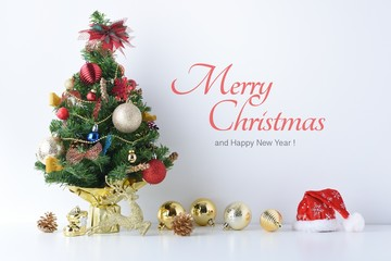 Happy New Year, Christmas, Santa Claus hat with Celebration balls and other decoration