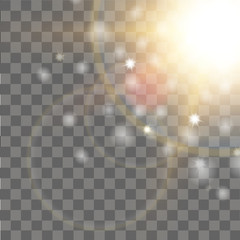 Special lens flare light effect on transparent background. Vector