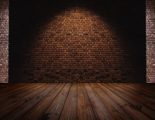 Brick wall and Hardwood floor, light spot on center for background