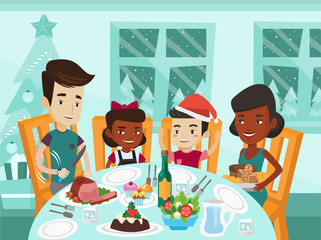 Happy multiethnic family of four celebrating Christmas day at festive table. Cheerful african-american mother and caucasian white father with their biracial kids having Christmas dinner at home.