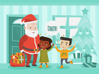 Multicultural children meeting Santa Claus with bag of Christmas gifts. Santa claus showing Christmas presents to african-american and caucasian kids near Christmas tree. Vector cartoon illustration.