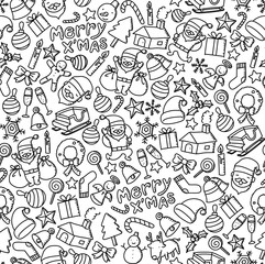 Seamless pattern background Happy New Year symbol icon kids hand drawing set illustration isolated on white background
