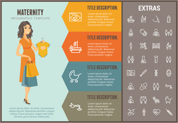 Maternity infographic options template, elements and icons. Infograph includes line icon set with pregnant woman, breast feeding, child care, reproductive technologies, ultrasound scan, baby etc.