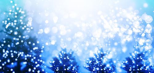 Illuminated Christmas trees in a snowy night