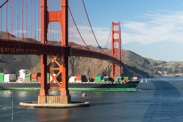 Container Ship Brings Imported Products Golden Gate Bridge San Franciso California
