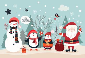 Christmas card design with seasonal characters