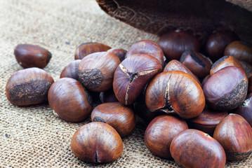 chestnuts on sack.