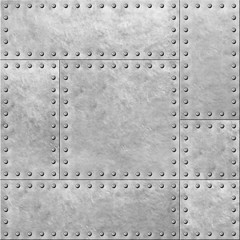 Wall Mural - armoured metal plates with rivets seamless background or texture 3d illustration