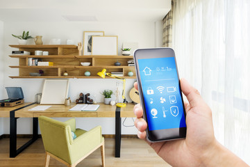smart phone with smart home with modern study