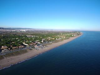 Playa Barcelona. Vista aerea. Fotografia con drone en Cataluña ( España)
