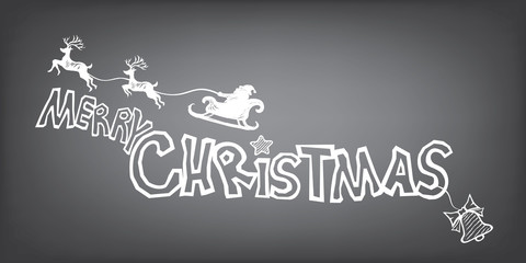 Merry Christmas with Santa sleigh and reindeer. Lettering design in doodle silhouette style for Xmas Holiday and Happy New Year.