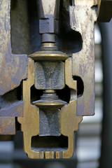 Ausschnitt eines Querschnitts des Motors einer Dampflokomotive