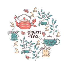 Set of Hand Lettering and Tea Accessories: Cup, Teapot and Leaves in Doodle Style.