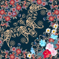 Seamless pattern with garden flowers and paisley ornament in russian style. Quarter ethnic shawl. Vector summer design.