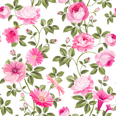 Red roses pattern for wallpaper design. Retro floral seamless pattern. Vector illustration.