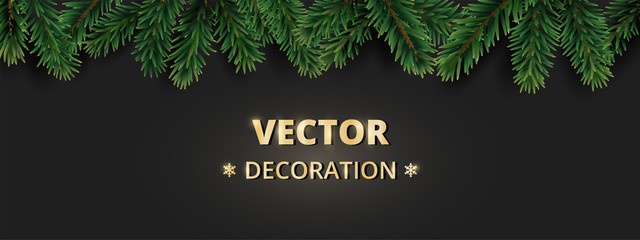 Winter holiday background with Christmas tree branches. Realistic fir-tree garland, frame
