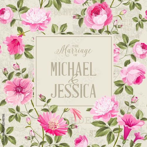 bridal shower invitation with flowers marriage design template with