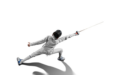 male fencer in action isolated Wall mural