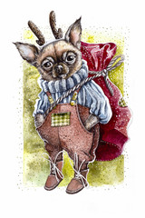 Watercolor Christmas and New Year dog with gift bag