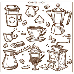 Coffee shop maker equipment tools vector sketch icons cup, beans for cafe