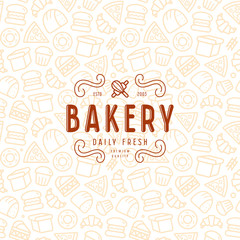 Seamless pattern in thin line style and emblem for bakery