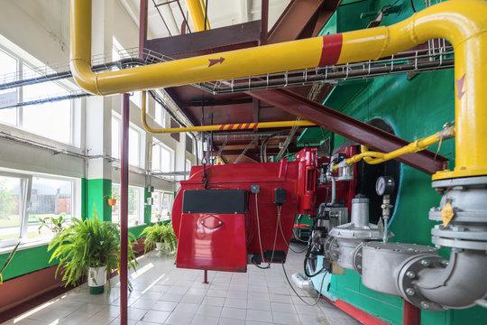 Modern industrial boiler room.