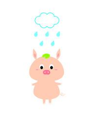 cute pig in rain cartoon vector