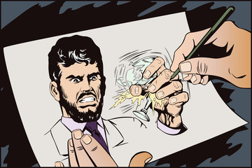 Angry man crushes glass with hand. Stock illustration.